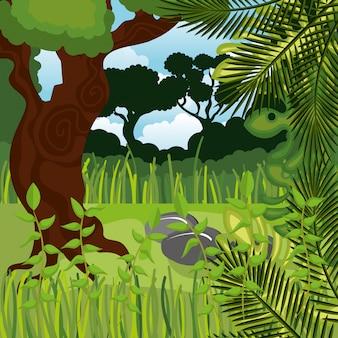Jungle landschap achtergrond geïsoleerd pictogram ontwerp