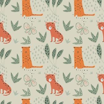 Jungle naadloos patroon met grappige luipaarden en tropische elementen hand getrokken vectorillustratie