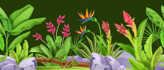 Jungle naadloze grens groen tropisch bos