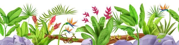 Jungle naadloze grens tropische bladplanten regenwoud bloemen