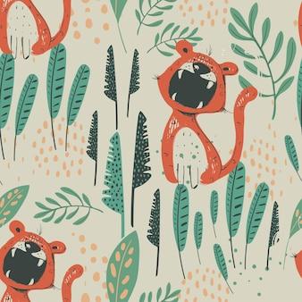 Jungle naadloze patroon met grappige tijgers en tropische elementen hand getrokken vectorillustratie