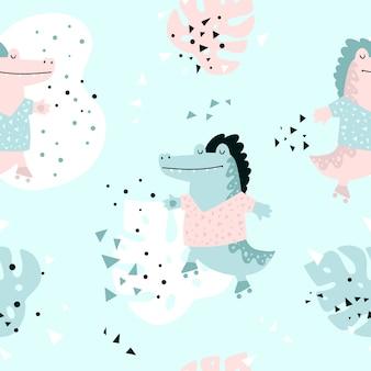 Jungle naadloze patroon met krokodil