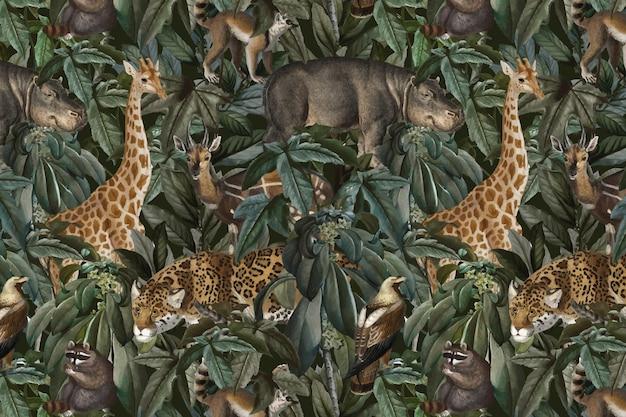 Jungle patroon achtergrond vector wilde dieren