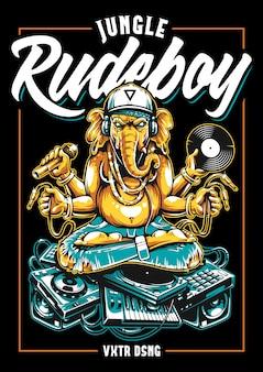 Jungle rude boy ganesha art