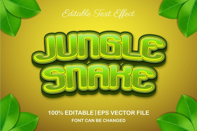 Jungle snake 3d bewerkbaar teksteffect