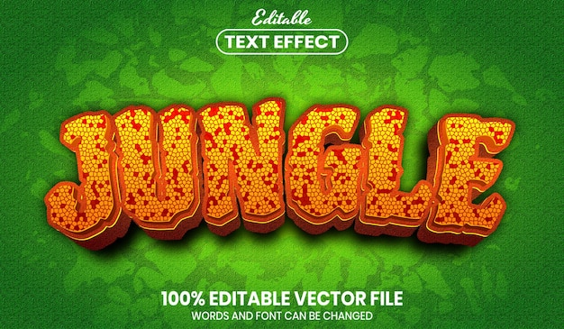 Jungle-tekst, bewerkbaar teksteffect in lettertypestijl
