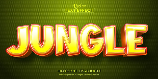 Jungle tekst cartoon stijl bewerkbaar teksteffect