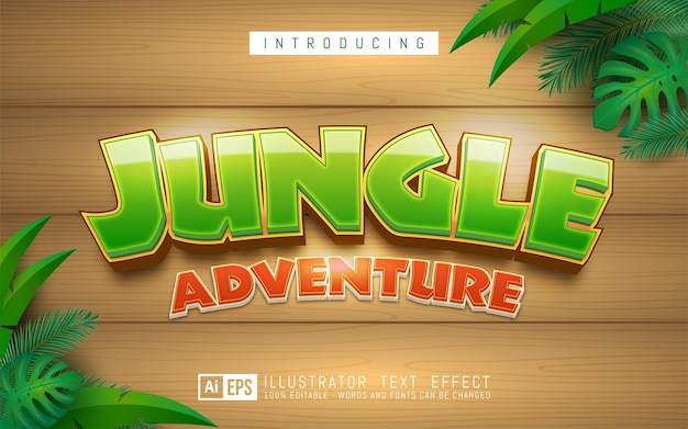 Jungle-teksteffect, bewerkbare 3d-tekststijl