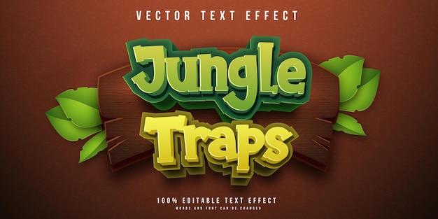 Jungle vangt bewerkbaar teksteffect Premium Vector