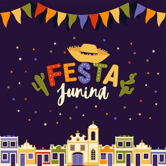 Juni-feest van brazilië festa junina-illustratie.