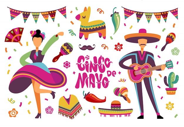 Juni feestfestival. mexicaanse of braziliaanse fiesta-elementen met cartoon latino-mensen. ingesteld