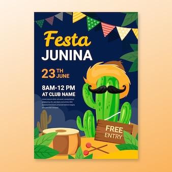 Juni festival poster sjabloonontwerp