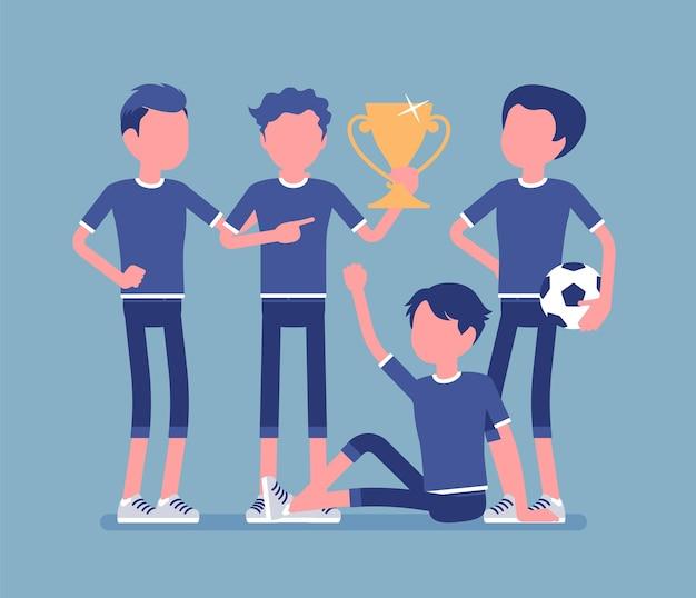 Junior voetbal voetbalspelers teamwinnaar