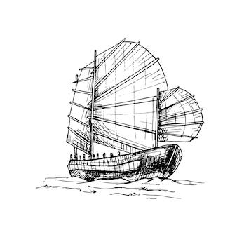 Junk drijvend op de golven van de zee. vintage vector broedeieren zwarte illustratie.