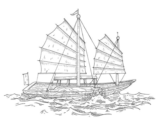 Junk drijvend op de golven van de zee vintage vector graveren geïsoleerd op wit