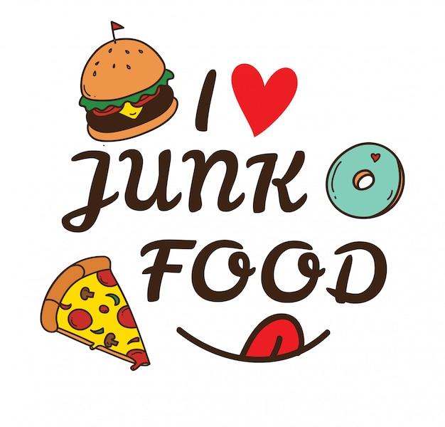 Junk food doodle illustratie