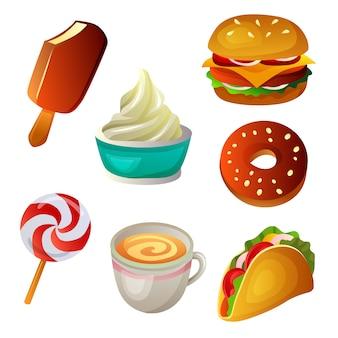 Junkfood-collectie ingesteld fastfood