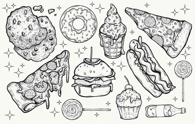 Junkfood en snoep snoep handgetekende geïsoleerde clipart-elementen voor grafische ontwerpprojecten. illustreerde heerlijke voedselpictogrammen en snoep, kawaiikleuren, heldere suikerachtige lekkernijen. pizza, hamburgers.