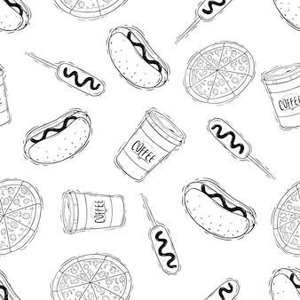 Junkfood met pizza hotdog en koffie in naadloos patroon