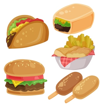 Junkfood vector illustraties hamburger burrito patat chips element ingesteld