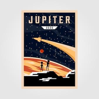 Jupiter poster illustratie, ruimte vintage poster illustratie ontwerp