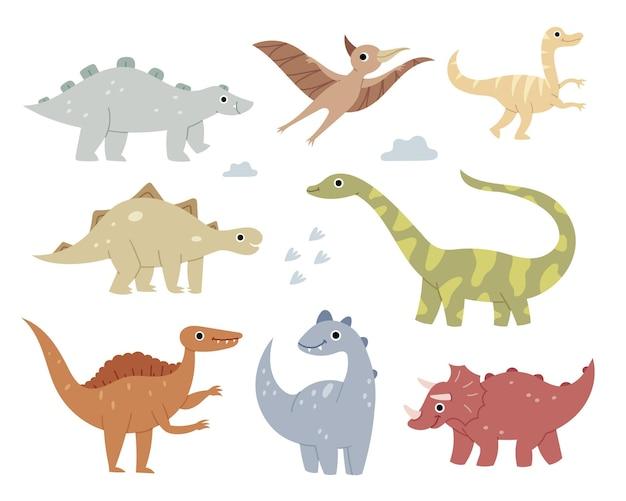 Jurassic reptielen pastelkleuren brachiosaurus ptereosaurus tyrannosaurus spinosaurus talarus