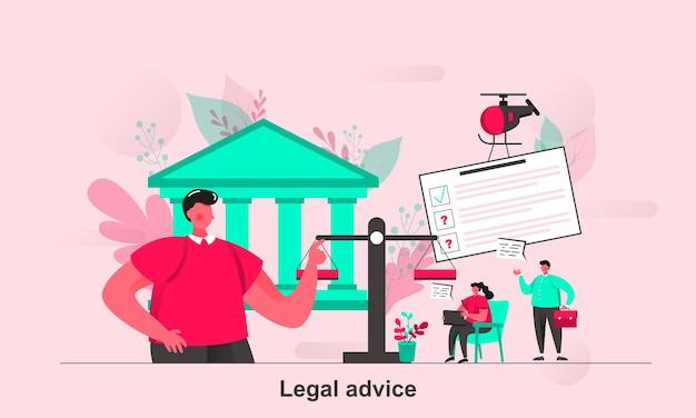 Juridisch advies webconcept in vlakke stijl met karakters van kleine mensen