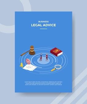 Juridisch adviesconcept voor sjabloonvlieger voor afdrukken met isometrische stijl