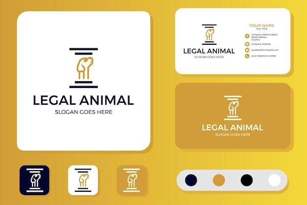 Juridisch dierenlogo-ontwerp en visitekaartje