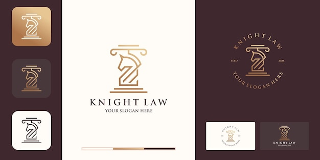 Juridisch paardenlogo met lijnstijl en visitekaartjeontwerp