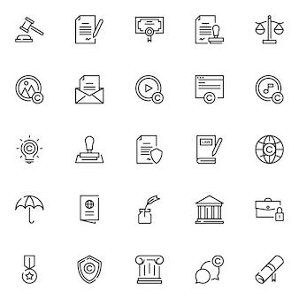 Juridisch recht icon pack, met overzicht pictogramstijl