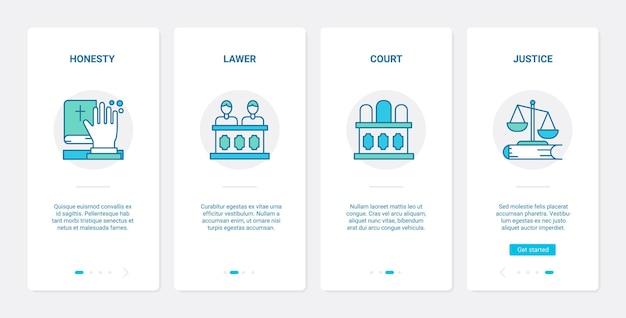 Juridisch recht justitie rechtbank sessie concept ux ui onboarding mobiele app