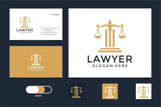 Juridisch symbool van rechtvaardigheid. advocatenkantoren, advocatenkantoor, advocatendiensten, luxe logo-ontwerpsjabloon en visitekaartje