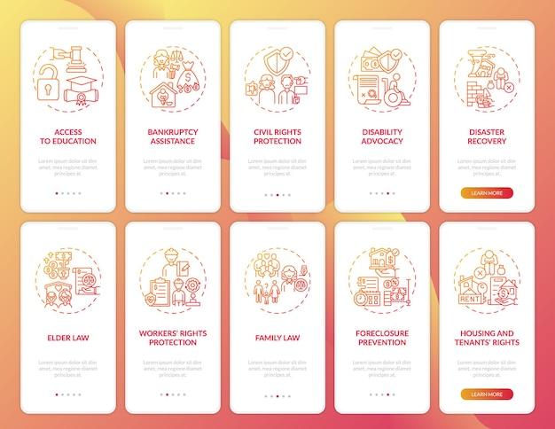Juridische diensten onboarding mobiele app-paginascherm met concepten. rechter oordeel walkthrough 10 stappen grafische instructies.