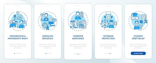 Juridische services typen onboarding mobiele app-paginascherm met concepten