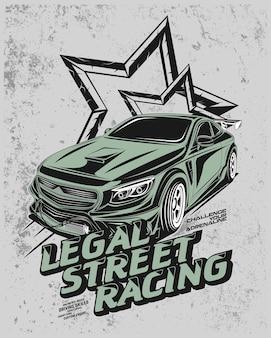 Juridische straatraces, moderne racewagenillustratie