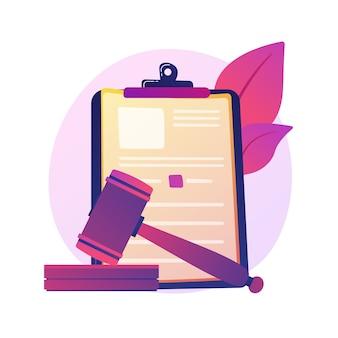 Juridische verklaring. gerechtelijke mededeling, rechterlijke beslissing, gerechtelijk apparaat. advocaat, advocaat studeren papieren stripfiguur. hypotheekschuld, wetgeving.