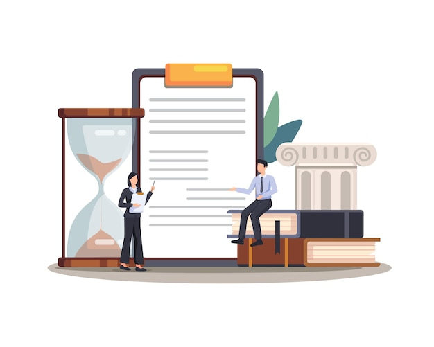 Juridische wet justitie dienst illustratie. wetsconcept wettelijke regeling rechtssysteem zakelijke overeenkomst. vector in een vlakke stijl
