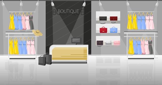 Jurk en schoenenwinkel boutique vlakke stijl illustratie