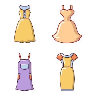Jurk pictogramserie. beeldverhaalreeks kledings vectorpictogrammen geplaatst geïsoleerd