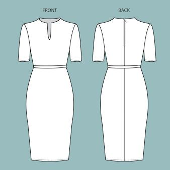 Jurk voor- en achteraanzicht. jurk mode platte schets sjabloon.