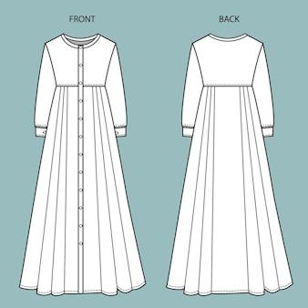 Jurk voor- en achteraanzicht. jurk mode platte sjabloon.