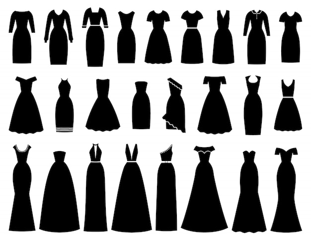 Jurken pictogram voor vrouwen. illustratie. vrouwelijk textiel, plat.