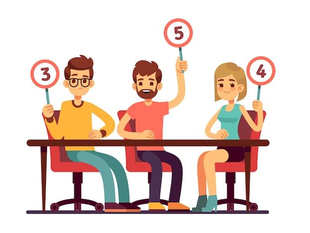 Jury beoordeelt scorekaarten. quiz mensen tonen competitie vector concept. jurygroepscomité, houdend scorecard met aantalillustratie
