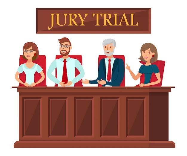 Jury trial vertegenwoordigers platte sjabloon voor spandoek
