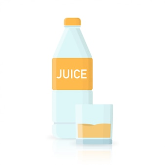 Jus d'orange fles water pictogram in vlakke stijl
