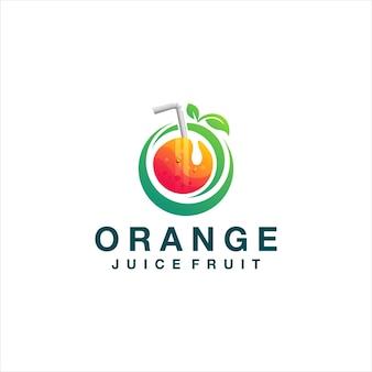 Jus d'orange kleurovergang logo ontwerp