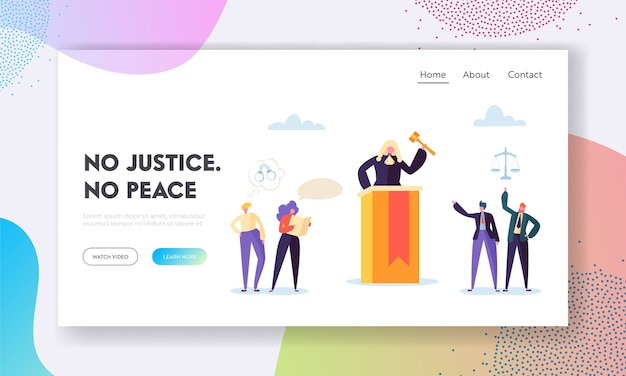 Justice is peace landing page.