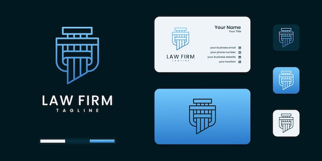 Justitie advocatenkantoor logo en visitekaartje sjabloon. logo kan worden gebruikt als merk, identiteit, creatief, legaal, minimaal en zakelijk bedrijf Premium Vector
