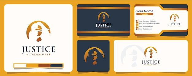 Justitie, blinde vrouw, silhouet, balans, logo-ontwerp en visitekaartje